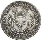 Photo numismatique  ARCHIVES VENTE 2017-7 juin - Coll Fr. Beau ATELIER DE CAEN LOUIS XIV (14 mai 1643-1er septembre 1715)  351 1/2 écu aux palmes, 1694 C.