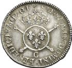 Photo numismatique  ARCHIVES VENTE 2017-7 juin - Coll Fr. Beau ATELIER DE CAEN LOUIS XIV (14 mai 1643-1er septembre 1715)  357 1/2 écu aux insignes, 1701 C.