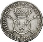Photo numismatique  ARCHIVES VENTE 2017-7 juin - Coll Fr. Beau ATELIER DE CAEN LOUIS XIV (14 mai 1643-1er septembre 1715)  359 1/4 d'écu aux insignes, 1701 C.