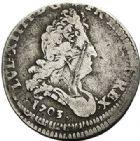 Photo numismatique  ARCHIVES VENTE 2017-7 juin - Coll Fr. Beau ATELIER DE CAEN LOUIS XIV (14 mai 1643-1er septembre 1715)  361 1/12ème d'écu aux insignes, 1702 C et 5 sols aux insignes, 1703C.