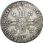 Photo numismatique  ARCHIVES VENTE 2017-7 juin - Coll Fr. Beau ATELIER DE CAEN LOUIS XIV (14 mai 1643-1er septembre 1715)  364 1/4 écu aux huit L 2e type, 1705 C.