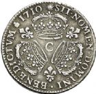 Photo numismatique  VENTE 7 juin 2017 - Coll Fr. Beau et divers ATELIER DE CAEN LOUIS XIV (14 mai 1643-1er septembre 1715)  371 1/4 écu aux trois couronnes, 1710 C.