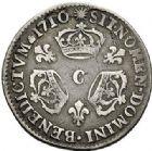 Photo numismatique  ARCHIVES VENTE 2017-7 juin - Coll Fr. Beau ATELIER DE CAEN LOUIS XIV (14 mai 1643-1er septembre 1715)  372 1/10ème d'écu aux trois couronnes, 1710 C.