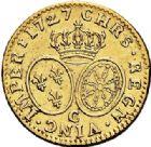 Photo numismatique  ARCHIVES VENTE 2017-7 juin - Coll Fr. Beau ATELIER DE CAEN LOUIS XV (1er septembre 1715-10 mai 1774)  380 Louis d'or aux lunettes, 1727 C.