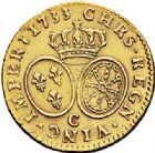 Photo numismatique  ARCHIVES VENTE 2017-7 juin - Coll Fr. Beau ATELIER DE CAEN LOUIS XV (1er septembre 1715-10 mai 1774)  382 Louis d'or aux lunettes, 1733 C.