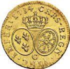 Photo numismatique  ARCHIVES VENTE 2017-7 juin - Coll Fr. Beau ATELIER DE CAEN LOUIS XV (1er septembre 1715-10 mai 1774)  383 Louis d'or aux lunettes, 1734 C.