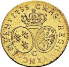 Photo numismatique  VENTE 7 juin 2017 - Coll Fr. Beau et divers ATELIER DE CAEN LOUIS XV (1er septembre 1715-10 mai 1774)  384 Louis d'or aux lunettes, 1735 C.
