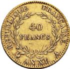 Photo numismatique  ARCHIVES VENTE 2017-7 juin - Coll Fr. Beau MODERNES FRANÇAISES BONAPARTE, 1er consul (24 décembre 1799-18 mai 1804)  469 40 francs or, Paris an XI.