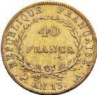 Photo numismatique  ARCHIVES VENTE 2017-7 juin - Coll Fr. Beau MODERNES FRANÇAISES NAPOLEON Ier, empereur (18 mai 1804- 6 avril 1814)  470 40 francs or, Paris an 13.