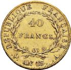 Photo numismatique  VENTE 7 juin 2017 - Coll Fr. Beau et divers MODERNES FRANÇAISES NAPOLEON Ier, empereur (18 mai 1804- 6 avril 1814)  471 40 francs or, Paris an 13.