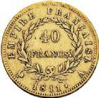 Photo numismatique  ARCHIVES VENTE 2017-7 juin - Coll Fr. Beau MODERNES FRANÇAISES NAPOLEON Ier, empereur (18 mai 1804- 6 avril 1814)  473- 40 francs or, Paris 1811.