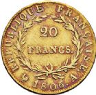 Photo numismatique  ARCHIVES VENTE 2017-7 juin - Coll Fr. Beau MODERNES FRANÇAISES NAPOLEON Ier, empereur (18 mai 1804- 6 avril 1814)  474- 20 francs or, Paris 1806.