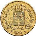 Photo numismatique  ARCHIVES VENTE 2017-7 juin - Coll Fr. Beau MODERNES FRANÇAISES LOUIS XVIII, 2e restauration (8 juillet 1815-16 septembre 1824)  480- 40 francs or, Bayonne 1816.