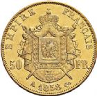 Photo numismatique  VENTE 7 juin 2017 - Coll Fr. Beau et divers MODERNES FRANÇAISES NAPOLEON III, empereur (2 décembre 1852-1er septembre 1870)  498- 50 francs or, Paris 1858.