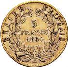 Photo numismatique  ARCHIVES VENTE 2017-7 juin - Coll Fr. Beau MODERNES FRANÇAISES NAPOLEON III, empereur (2 décembre 1852-1er septembre 1870)  500- 5 francs or, Paris 1860.
