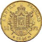 Photo numismatique  ARCHIVES VENTE 2017-7 juin - Coll Fr. Beau MODERNES FRANÇAISES NAPOLEON III, empereur (2 décembre 1852-1er septembre 1870)  505 50 francs or, Strasbourg 1866.