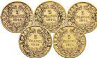 Photo numismatique  VENTE 7 juin 2017 - Coll Fr. Beau et divers MODERNES FRANÇAISES NAPOLEON III, empereur (2 décembre 1852-1er septembre 1870)  506- Lot de 5 monnaies de 5 francs or.