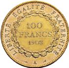 Photo numismatique  VENTE 7 juin 2017 - Coll Fr. Beau et divers MODERNES FRANÇAISES 3e REPUBLIQUE (4 septembre 1870-10 juillet1940)  508- 100 francs or, Paris 1903.