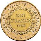 Photo numismatique  ARCHIVES VENTE 2017-7 juin - Coll Fr. Beau MODERNES FRANÇAISES 3ème REPUBLIQUE (4 septembre 1870-10 juillet 1940)  508- 100 francs or, Paris 1903.