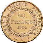 Photo numismatique  ARCHIVES VENTE 2017-7 juin - Coll Fr. Beau MODERNES FRANÇAISES 3ème REPUBLIQUE (4 septembre 1870-10 juillet 1940)  509 50 francs or, Paris 1904.