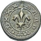 Photo numismatique  ARCHIVES VENTE 2017-7 juin - Coll Fr. Beau BARONNIALES - POIDS de VILLE CORDES (Tarn)  511- Cordes-sur-Ciel. 1/2 livre, 1280.