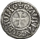 Photo numismatique  ARCHIVES VENTE 2017-7 juin - Coll Fr. Beau BARONNIALES - POIDS de VILLE Abbaye de CLUNY  535-  (XIIe siècle). Denier.