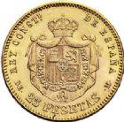 Photo numismatique  ARCHIVES VENTE 2017-7 juin - Coll Fr. Beau MONNAIES DU MONDE ESPAGNE ALPHONSE XII (1874-1885) 548- 25 pesetas, Madrid 1878.
