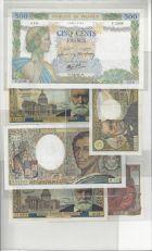 Photo numismatique  VENTE 7 juin 2017 - Coll Fr. Beau et divers LOTS DE MONNAIES ET BILLETS BILLETS DE LA BANQUE DE France  553b- Lot de 6 billets.