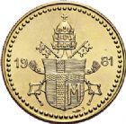 Photo numismatique  VENTE 7 juin 2017 - Coll Fr. Beau et divers MEDAILLES MEDAILLES EN OR MONNAIE DE PARIS  601- JEAN-PAUL II, Pape. Module de 20 lire or, 1980