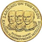 Photo numismatique  VENTE 7 juin 2017 - Coll Fr. Beau et divers MEDAILLES MEDAILLES EN OR MONNAIE DE PARIS  606- Aldrin, Armstrong, Collins, Landing on the Moon, 21/07/1969.