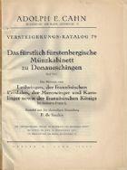 Photo numismatique  VENTE 7 juin 2017 - Coll Fr. Beau et divers OUVRAGES NUMISMATIQUES   643- Catalogue Fürstenberg (Cahn 79).