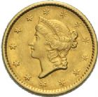 Photo numismatique  MONNAIES MONNAIES DU MONDE ÉTATS-UNIS d'AMÉRIQUE du NORD  Dollar or, 1852.