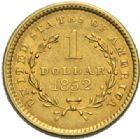 Photo numismatique  MONNAIES MONNAIES DU MONDE ÉTATS-UNIS d'AMÉRIQUE du NORD  Dollar or, 1852.