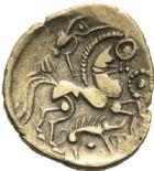 Photo numismatique  MONNAIES GAULE - CELTES AULERQUES EBUROVICES (région d'Evreux)  Hémistatère d'or.