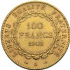 Photo numismatique  MONNAIES MODERNES FRANÇAISES 3e REPUBLIQUE (4 septembre 1870-10 juillet1940)  100 francs or, Paris, 1908.