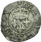 Photo numismatique  MONNAIES ROYALES FRANCAISES CHARLES VII (30 octobre 1422-22 juillet 1461)  Blanc dit Florette, 7ème émission, La Rochelle.