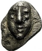 Photo numismatique  ARCHIVES VENTE 2017-6 oct - Coll Dr Y. Goalard GRÈCE ANTIQUE GAULE Types du trésor d'Auriol (Ve siècle) 4- Hémiobole au masque, (500-470).