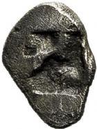 Photo numismatique  VENTE 6 oct 2017 - Coll Dr Y. Goalard et divers GRECE ANTIQUE GAULE Types du trésor d'Auriol (Ve siècle) 4- Hémiobole au masque, (500-470).