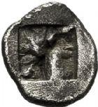 Photo numismatique  VENTE 6 oct 2017 - Coll Dr Y. Goalard et divers GRECE ANTIQUE GAULE Types du trésor d'Auriol (Ve siècle) 6- Hémiobole à la tête de veau, (500-475).