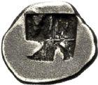 Photo numismatique  VENTE 6 oct 2017 - Coll Dr Y. Goalard et divers GRECE ANTIQUE GAULE Types du trésor d'Auriol (Ve siècle) 9- Hémiobole au sanglier ailé, (500-475).