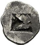 Photo numismatique  VENTE 6 oct 2017 - Coll Dr Y. Goalard et divers GRECE ANTIQUE GAULE Types assimilés au trésor d'Auriol (Ve siècle) 15- Hémiobole de type milésiaque, (475-460).