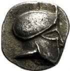 Photo numismatique  VENTE 6 oct 2017 - Coll Dr Y. Goalard et divers GRECE ANTIQUE GAULE Types assimilés au trésor d'Auriol (Ve siècle) 16- Hémiobole au casque à droite, (475-460).