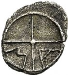 Photo numismatique  ARCHIVES VENTE 2017-6 oct - Coll Dr Y. Goalard GRECE ANTIQUE GAULE DU SUD MARSEILLE (Bouches-du-Rhône) 25- Obole avec favori ressemblant à des lettres, (200-125).