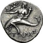 Photo numismatique  VENTE 6 oct 2017 - Coll Dr Y. Goalard et divers GRECE ANTIQUE Italie - Calabre Tarente époque d'Hannibal (215-212) 37- Demi-statère ou demi-shekel.