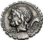 Photo numismatique  ARCHIVES VENTE 2017-6 oct - Coll Dr Y. Goalard RÉPUBLIQUE ROMAINE L. Memmius Galeria (vers 106)  277- Denier serratus.