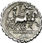 Photo numismatique  VENTE 6 oct 2017 - Coll Dr Y. Goalard et divers REPUBLIQUE ROMAINE L. Memmius Galeria (vers 106)  277- Denier serratus.