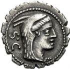 Photo numismatique  ARCHIVES VENTE 2017-6 oct - Coll Dr Y. Goalard RÉPUBLIQUE ROMAINE L. Procilius (vers 80)  279- Denier serratus.