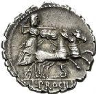Photo numismatique  VENTE 6 oct 2017 - Coll Dr Y. Goalard et divers REPUBLIQUE ROMAINE L. Procilius (vers 80)  279- Denier serratus.