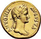 Photo numismatique  VENTE 6 oct 2017 - Coll Dr Y. Goalard et divers EMPIRE ROMAIN CLAUDE (41-54)  286- Aureus au nom d'Antonia, Lyon, (41-42).