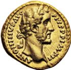 Photo numismatique  ARCHIVES VENTE 2017-6 oct - Coll Dr Y. Goalard EMPIRE ROMAIN ANTONIN LE PIEUX (César 138 - Auguste 138-161)  302- Aureus, Rome, (156-157).